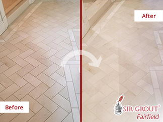 Before and after Picture of This Bathroom after a Grout Cleaning Service in New Canaan, CT