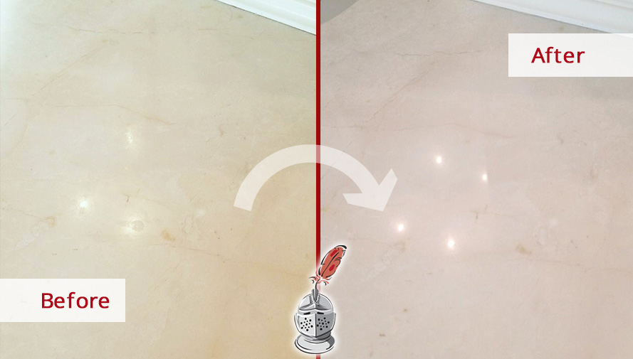 Before and after Picture of This Marble Countertop after a Honing Process in New Canaan, CT