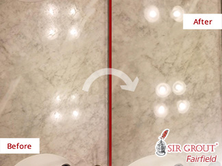 Before and after Picture of These Marble Surfaces in Stamford, CT