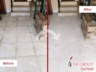 Before and after Picture of a Stone Cleaning Service in Newtown, CT