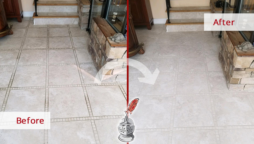 Before and after Picture of This Floor after a Stone Cleaning Job in Newtown, CT