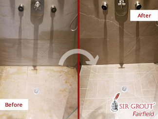 Before and after Picture of a Stone Sealing Process in New Canaan, CT
