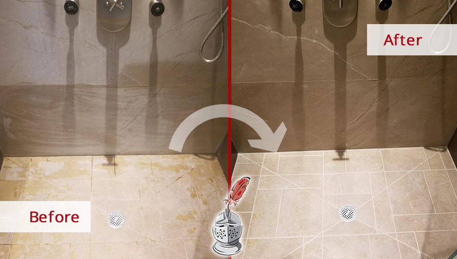Before and after Picture of This Shower after a Stone Sealing Job in New Canaan, CT