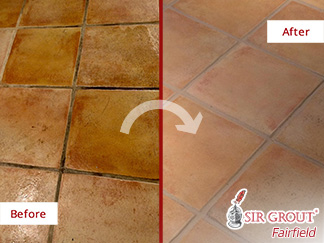 Before and after Picture of a Tile Cleaning Job in Greenwich, CT
