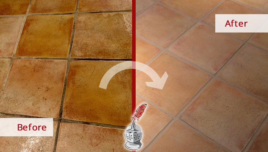 Before and after Picture of This Quarry Floor after a Tile Cleaning Service in Greenwich, CT