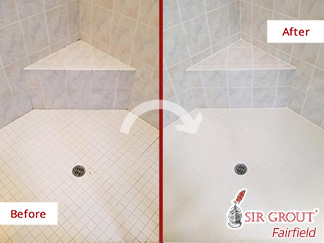 Before and after Picture of this Shower Restoration in Greenwich, CT