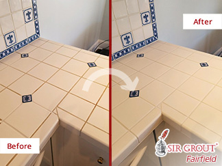 Before and After Picture of This Kitchen Countertop After a Grout Cleaning Service in Greenwich, CT