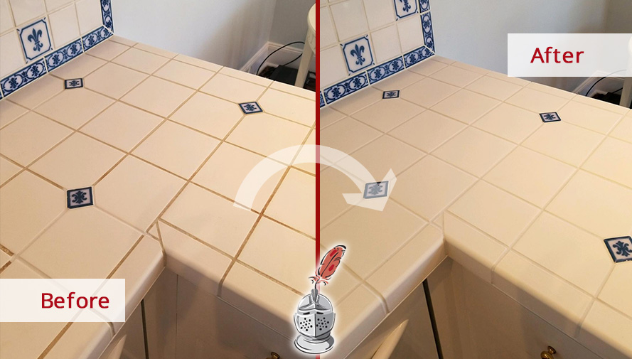 Kitchen Countertop Before and After a Grout Cleaning Job in Greenwich, CT