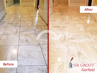 Before and After Picture of a Stone Honing Service in Westport, CT