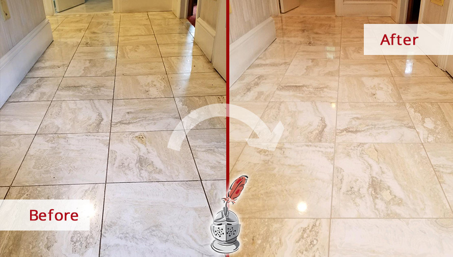 Marble Floor Before and After Our Stone Honing Process in Westport, CT