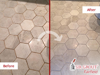 Before and After Picture of a Tile and Grout Cleaning Job in Danbury, CT