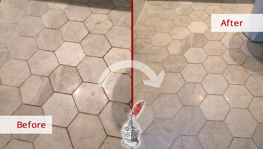 Tile Floor Before and After a Tile and Grout Cleaning Service in Danbury, CT