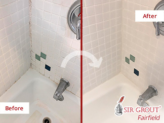 Before and After Picture of a Grout Sealing Service in Westport, CT
