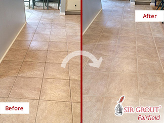 Before and After a Tile and Grout Cleaning in New Milford, CT