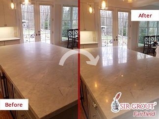 Kitchen Island Before and After a Hard Surface Restoration in Brookfield, CT
