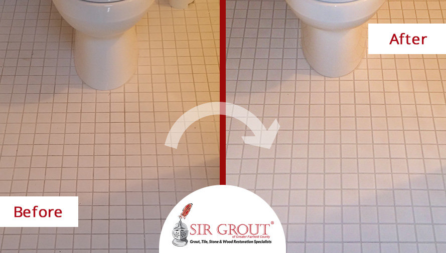 A Grout Cleaning Gave This Ceramic Bathroom Floor in Greenwich, CT a Brand New Look