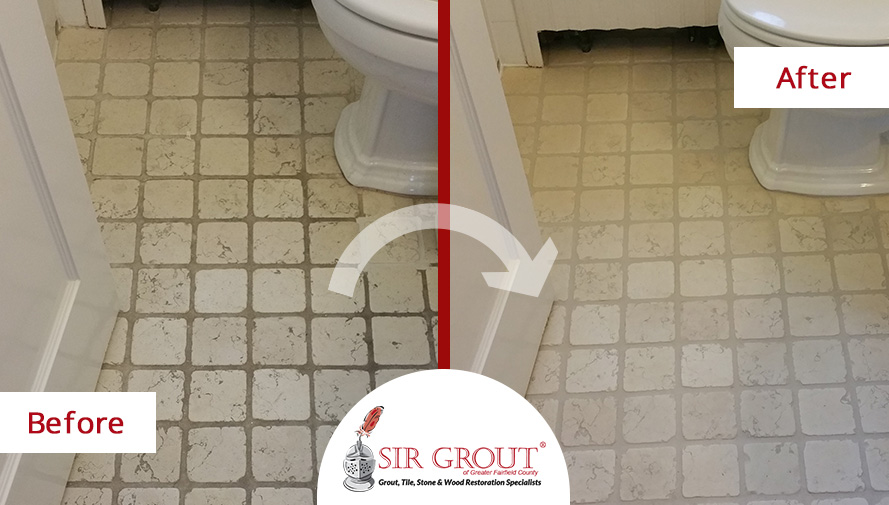 This Beautiful Stratford Home Had a Dirty Marble Bathroom Floor. See How a Stone Cleaning Fixed the Problem!