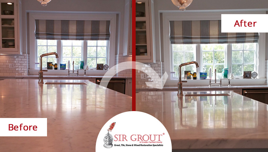 Before and After Picture of a Stone Honing Service on a White Marble Countertop in Greenwich, Connecticut