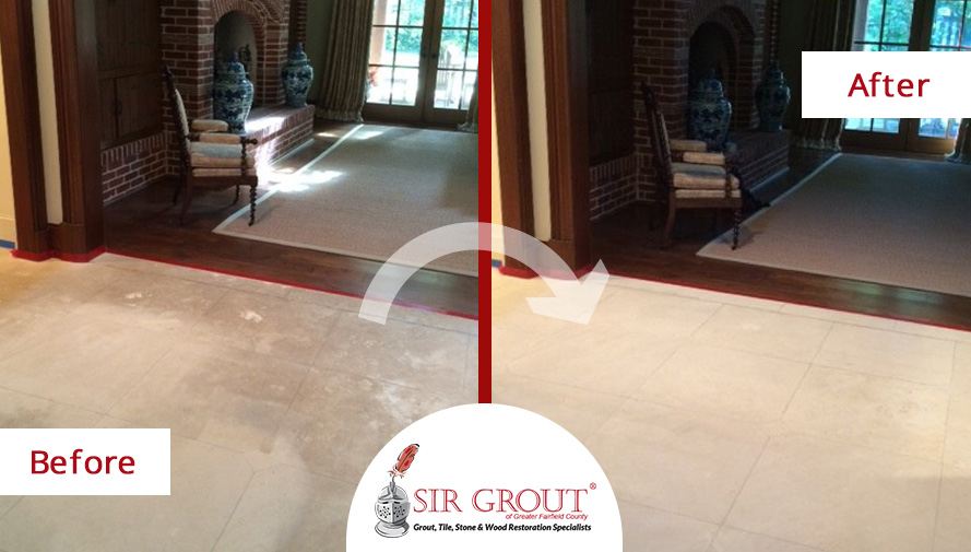 Before and After Picture of a Hard Surface Restoration Service on a Marble Floor in Stamford, Connecticut