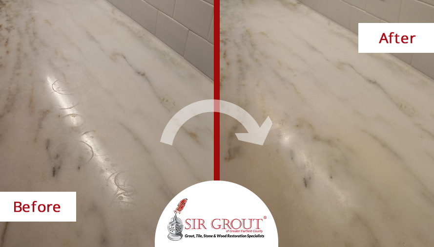 Marble Countertop Before and After a Stone Honing in Greenwich, CT