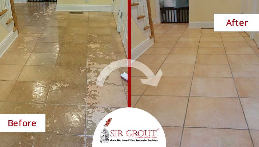 Before and After Picture of a Tile Cleaning Service in Darien, Connecticut