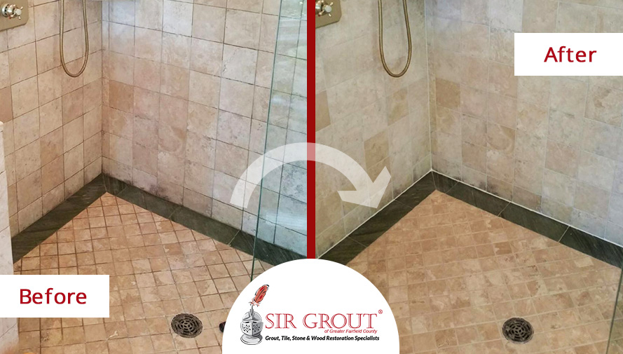 Before and After Picture of a Beautiful Stone Shower Brought Back to Life with a Grout Cleaning in Darien, CT