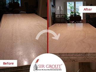 Before and After Picture of a Stone Polishing Service in Stamford, CT