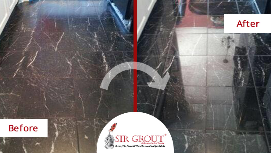 Before and After Picture of a Black Marble Floor Polishing Service in Danbury Connecticut