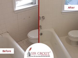 Before and After Picture of a White Bathroom Caulking Service in New Canaan, Connecticut
