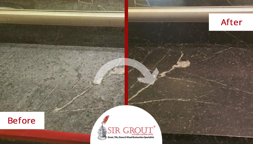 Before and After Picture of Stone Polishing Service in Stamford, Connecticut