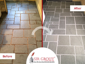 Before and After Picture of a Floor Grout Cleaning Service in Sherman, CT