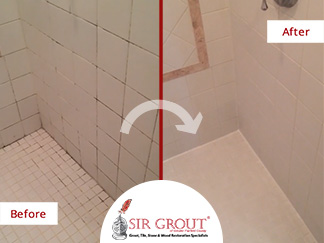 Before and After Picture of a Shower Grout Cleaning Service in New Fairfield, CT