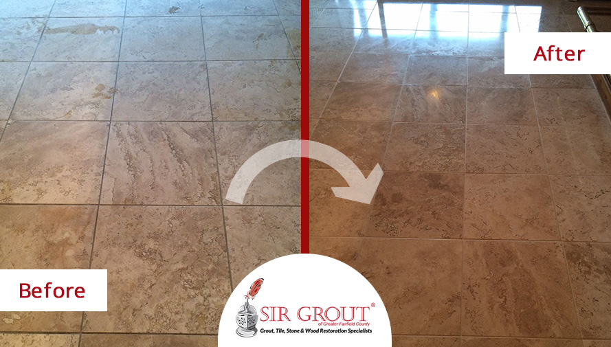 Before and After Picture of a Floor Stone Cleaning Service in Stamford