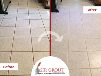 Before and After Picture of a Grout Recoloring Service in Fairfield, CT