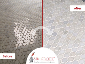 Before and After Picture of a Grout Cleaning Service in New Milford, CT