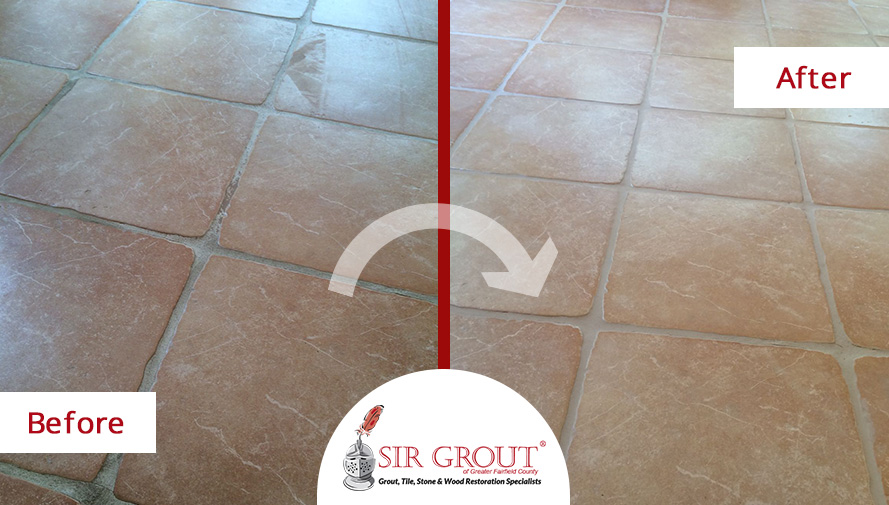 Before and After Picture of a Grout Cleaning Service in Trumbull, CT