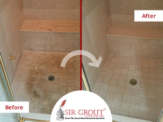 Before and After Picture of a Tile Cleaning Service in Darien, CT