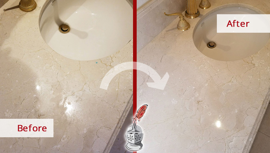 Before and After Picture of a Countertop Stone Cleaning Service in Easton, CT