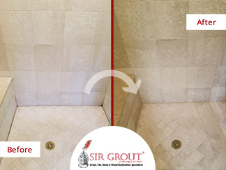 Before and After Picture of a Bathroom Stone Cleaning Service in Easton, CT