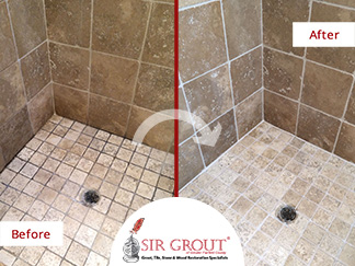 Before and After Picture of a Bathroom Grout Sealing in New Canaan, Connecticut