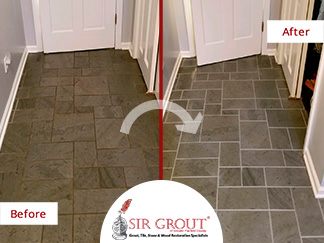 Before and After Picture of a Slate Grout Sealing in Trumbull, Connecticut