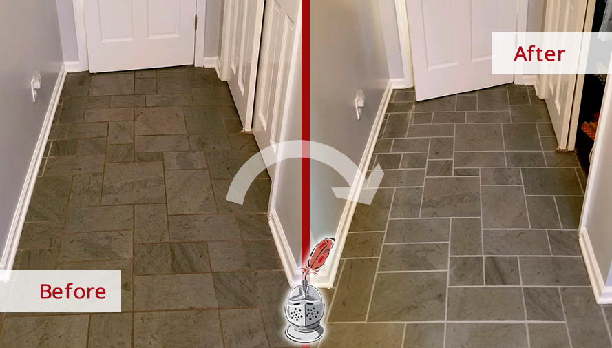 Before and After Picture of a Slate Floor Grout Sealing in Trumbull, Connecticut