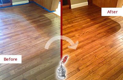 Before and After Picture of a Morris Wood Sand Free Refinishing Service on a Dull Floor to Recover Its Sheen