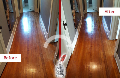 Before and After Picture of a Morris Wood Sand Free Refinishing Service on a Floor to Eliminate Scratches