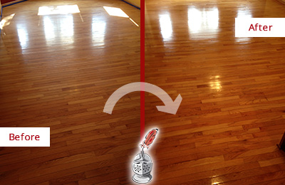 Before and After Picture of a Morris Wood Sand Free Refinishing Service on a Room Floor to Remove Scratches