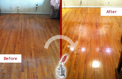 Before and After Picture of a Morris Wood Sand Free Refinishing Service on a Stained Floor