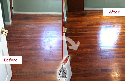 Before and After Picture of a Morris Wood Sand Free Refinishing Service on a Dull Floor to Remove Stains