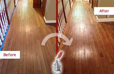 Before and After Picture of a Morris Wood Sand Free Refinishing Service on a Worn Out Floor