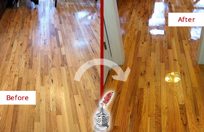 Before and After Picture of a Morris Wood Sand Free Refinishing Service on a Worn Out Hallway