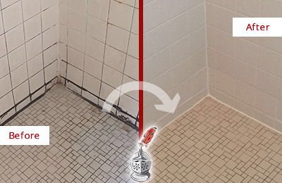 Before and After Picture of Grout Caulking on a Shower with Mold and Mildew